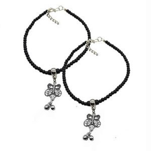 German Silver Anklet Pair_Butterfly