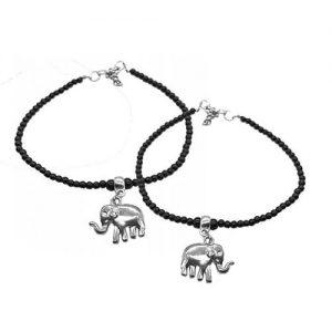 German Silver Anklet Pair_elephant