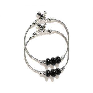 German Silver Black Beaded Ghungroo Anklet_Black