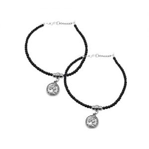 German Silver Coin Charm Anklet Pair