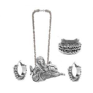 German Silver Ganesha Jewelry Set