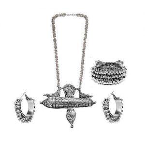 German Silver Ganesha Parrot Jewelry Set