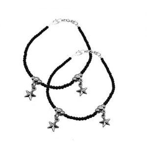 German Silver Star Shape Anklet Pair