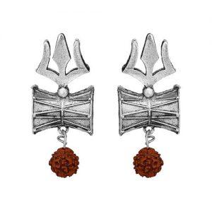 Oxidized Silver Trishul Stud Earrings_cover