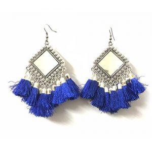 Oxidized Square Mirror Tassel Earring_Blue