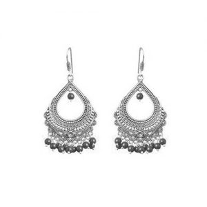 Oxidized Bali Dangle Earrings_Black