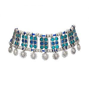 Oxidized Silver Enamel Work Necklace_Blue1